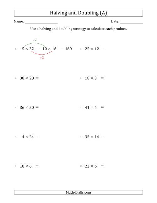 The Halving and Doubling Strategy with Harder Questions (A) Math Worksheet