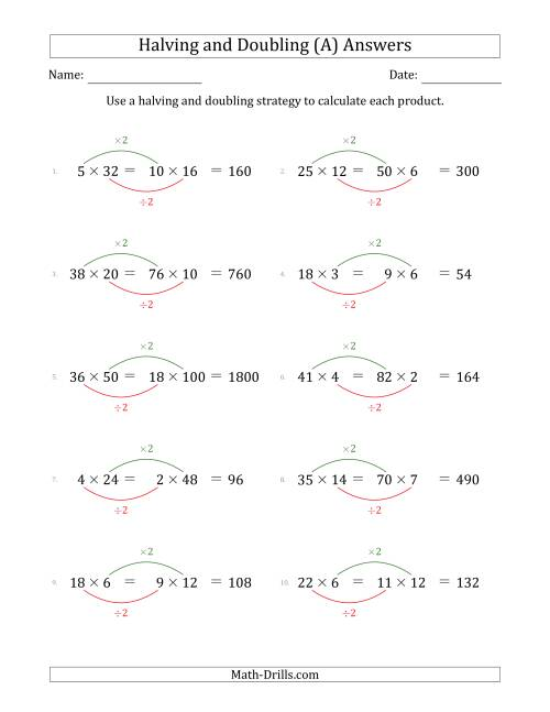 The Halving and Doubling Strategy with Harder Questions (A) Math Worksheet Page 2