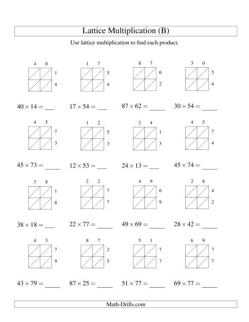The Lattice Multiplication -- Two-digit by Two-digit (B) Multiplication Worksheet