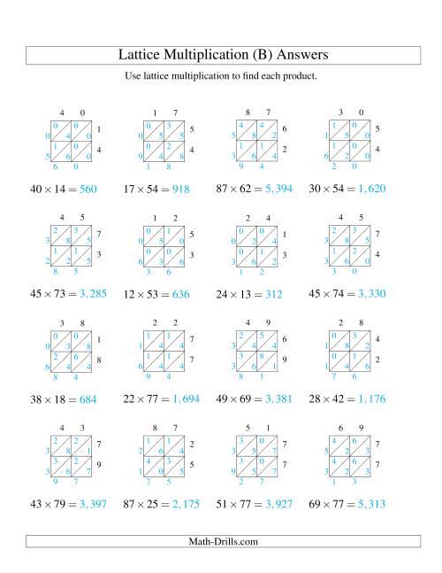 lattice multiplication two digit by two digit b. Black Bedroom Furniture Sets. Home Design Ideas
