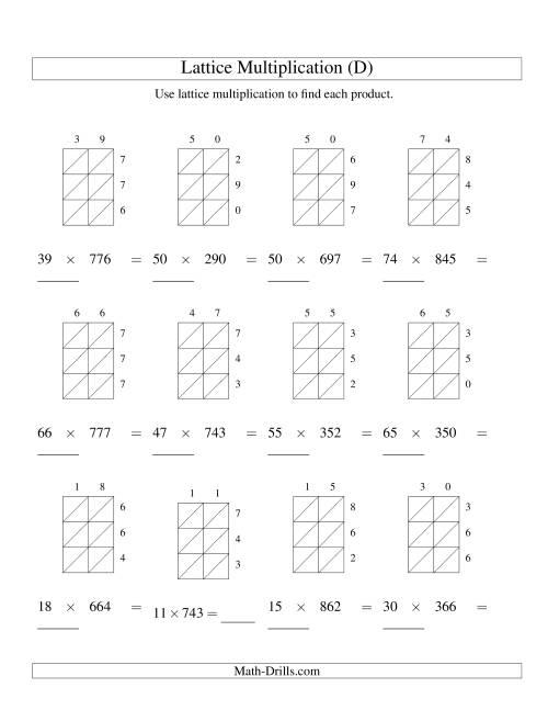 lattice multiplication two digit by three digit d. Black Bedroom Furniture Sets. Home Design Ideas