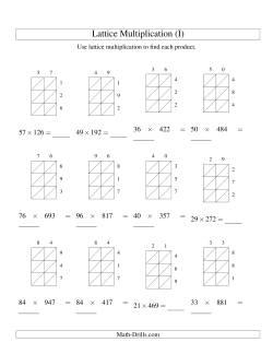 Lattice Multiplication -- Two-digit by Three-digit (I)