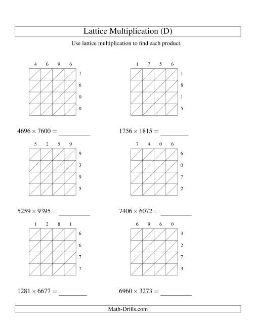 The Lattice Multiplication -- Four-digit by Four-digit (D) Multiplication Worksheet