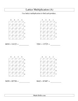 Lattice Multiplication -- Four-digit by Five-digit (A)