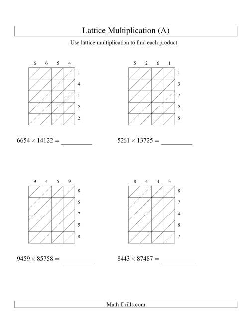 The Lattice Multiplication -- Four-digit by Five-digit (A) Multiplication Worksheet