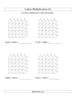 Lattice Multiplication -- Five-digit by Five-digit (All)