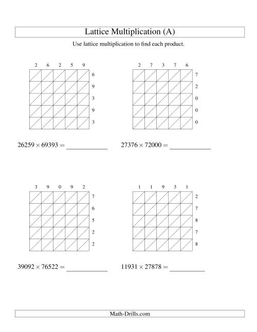 The Lattice Multiplication -- Five-digit by Five-digit (All) Multiplication Worksheet