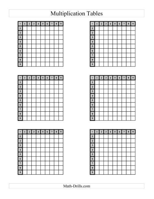 The Multiplication Tables to 81 -- Four per page (B) Math Worksheet Page 2