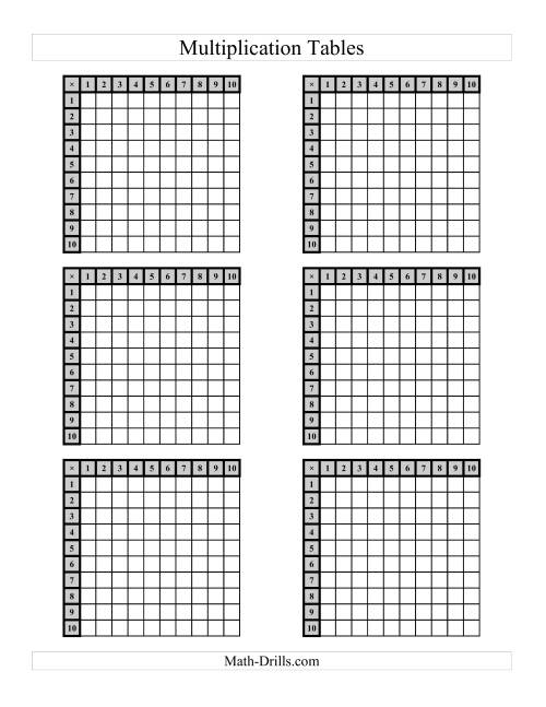 The Multiplication Tables to 100 -- Four per page (C) Math Worksheet Page 2