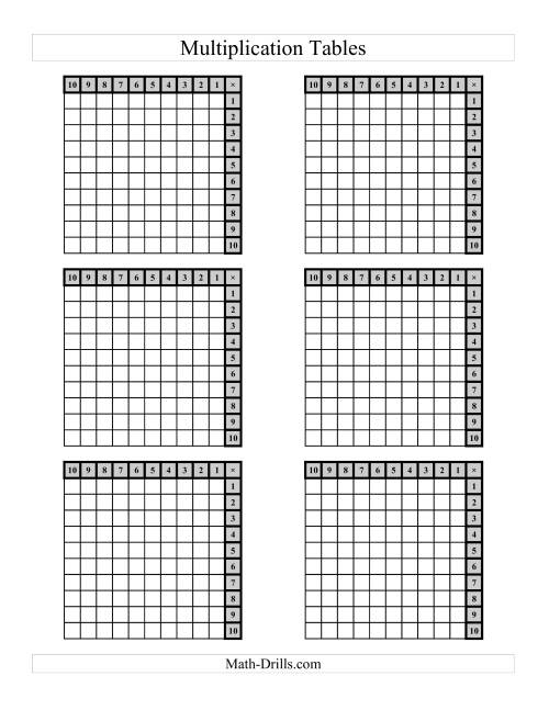 The Left-Handed Multiplication Tables to 100 -- Four per page (C) Math Worksheet Page 2