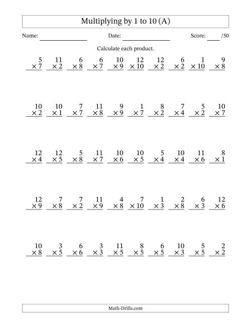 The Multiplying by 1 to 10 with Factors 1 to 12 (50 Questions) (All) Math Worksheet