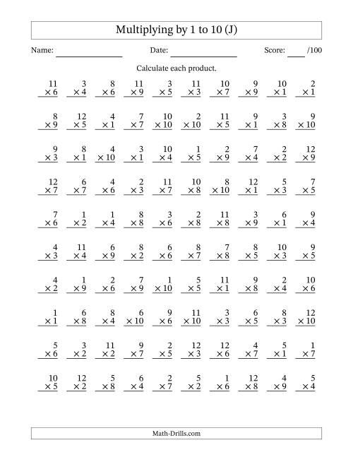 100 Printable Multiplication Worksheets Pictures to Pin on – Timed Multiplication Worksheet