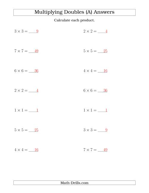 The Multiplying Doubles up to 7 by 7 (A) Math Worksheet Page 2