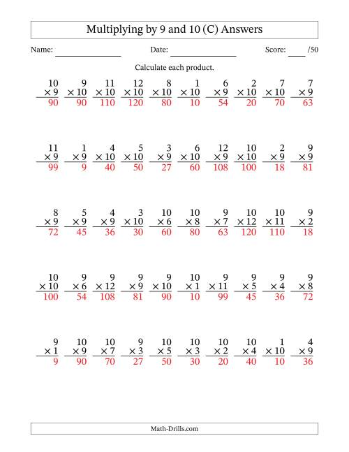 The Multiplying by 9 and 10 with Factors 1 to 12 (50 Questions) (C) Math Worksheet Page 2