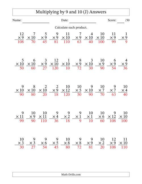 The Multiplying by 9 and 10 with Factors 1 to 12 (50 Questions) (J) Math Worksheet Page 2