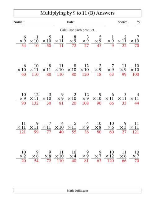 The Multiplying by 9 to 11 with Factors 1 to 12 (50 Questions) (B) Math Worksheet Page 2