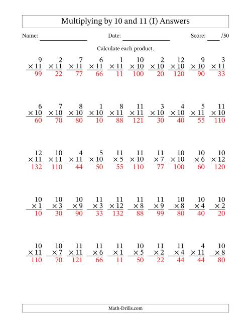 The Multiplying by 10 and 11 with Factors 1 to 12 (50 Questions) (I) Math Worksheet Page 2