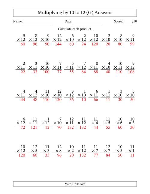 The Multiplying by 10 to 12 with Factors 1 to 12 (50 Questions) (G) Math Worksheet Page 2
