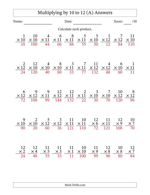 The Multiplying by 10 to 12 with Factors 1 to 12 (50 Questions) (All) Math Worksheet Page 2