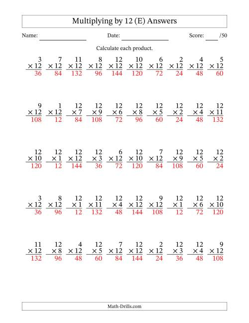 The Multiplying by Twelve (12) with Factors 1 to 12 (50 Questions) (E) Math Worksheet Page 2