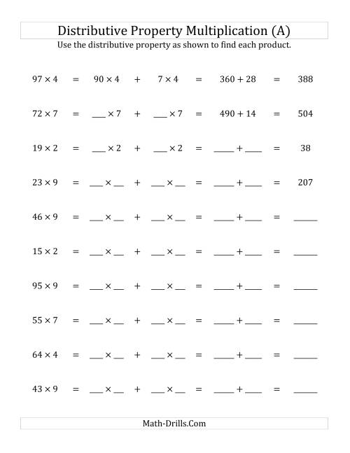 Multiply 2Digit by 1Digit Numbers Using the Distributive – Properties of Numbers Worksheet