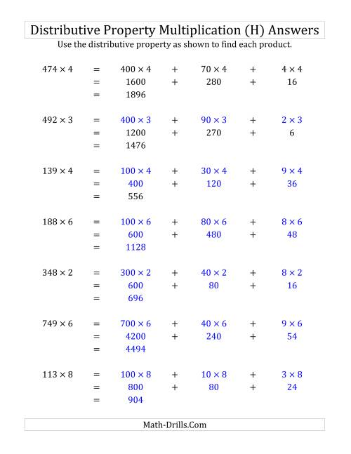 The Multiply 3-Digit by 1-Digit Numbers Using the Distributive Property (H) Math Worksheet Page 2