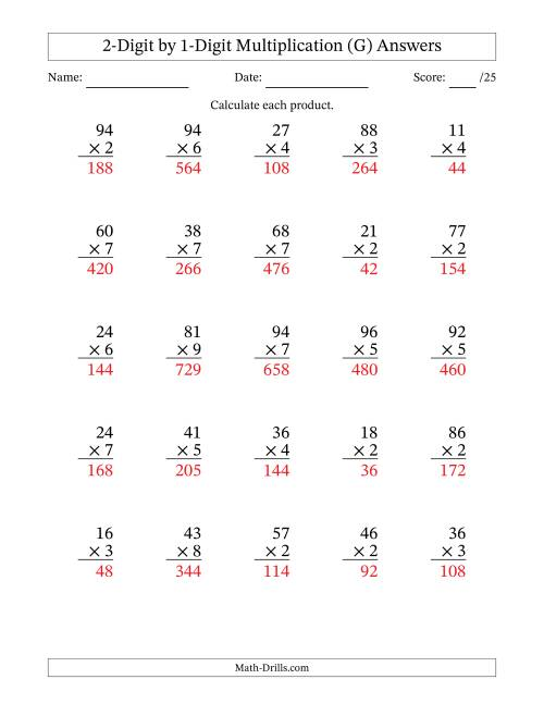 The Multiplying 2-Digit by 1-Digit Numbers (G) Math Worksheet Page 2
