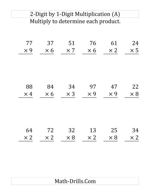 Multiplying a 2-Digit Number by a 1-Digit Number (Large ...