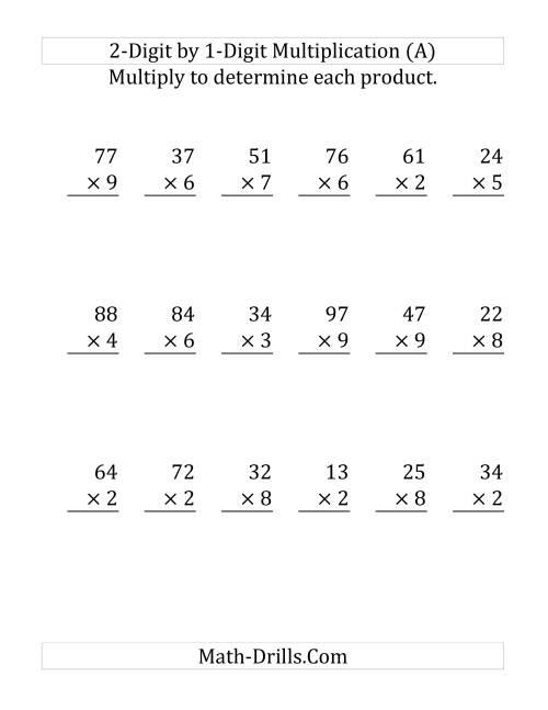 worksheet 1 Digit By 2 Digit Multiplication multiplying a 2 digit number by 1 large print a
