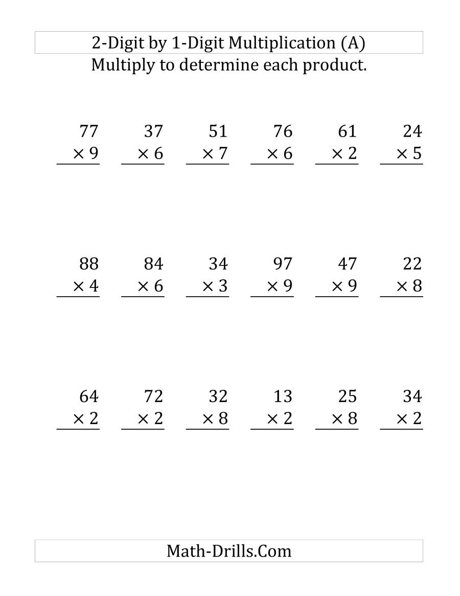 by 1 digit multiplication worksheets
