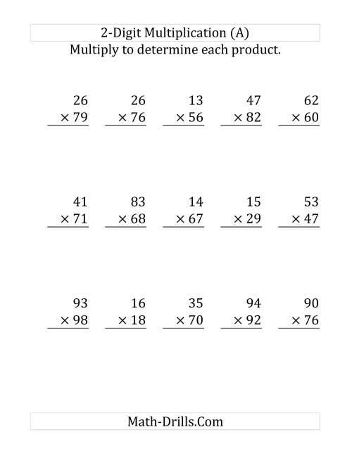 The Multiplying a 2-Digit Number by a 2-Digit Number (Large Print) (Old) Math Worksheet