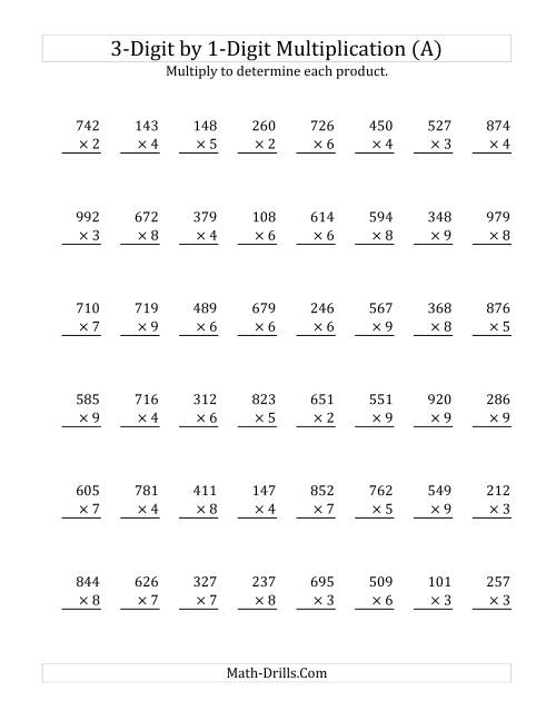 The 3-Digit by 1-Digit Multiplication (Old) Math Worksheet