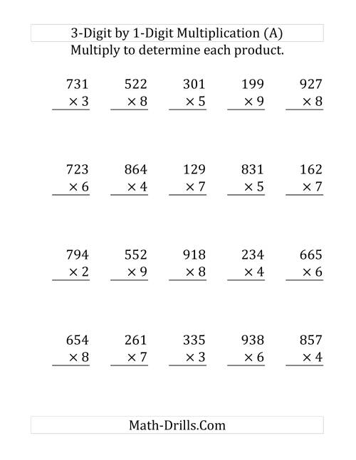 The Multiplying a 3-Digit Number by a 1-Digit Number (Large Print and SI Number Format) (Old) Math Worksheet