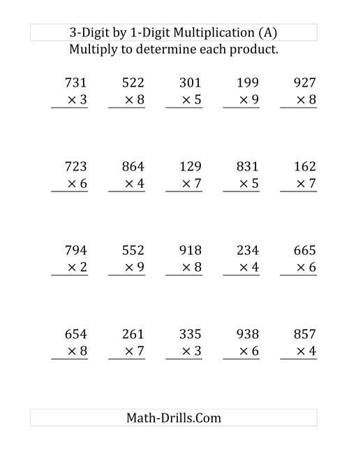 3 Digit by 1 Digit Multiplication SI Version LP
