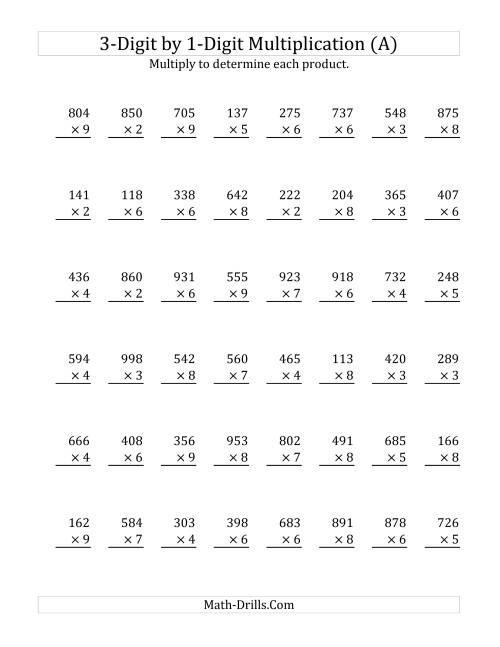 The 3-Digit by 1-Digit Multiplication (SI Version) (Old) Math Worksheet