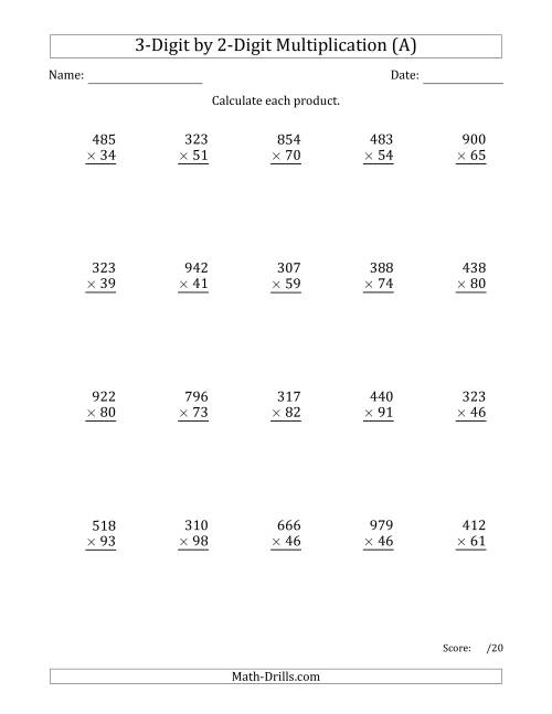 math worksheet : multiplying 3 digit by 2 digit numbers with comma separated  : Two Digit By Two Digit Multiplication Worksheets Free