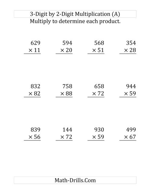 Multiplication Two Digit By Two Digit Worksheet The 2 Digit By 1 – Multiplication by 2 Digits Worksheets
