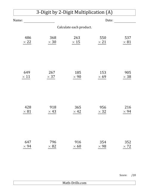 The Multiplying 3-Digit by 2-Digit Numbers with Space-Separated Thousands (A) Math Worksheet