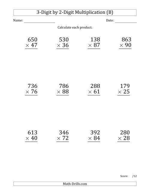 The Multiplying 3-Digit by 2-Digit Numbers (Large Print) with Space-Separated Thousands (B) Math Worksheet