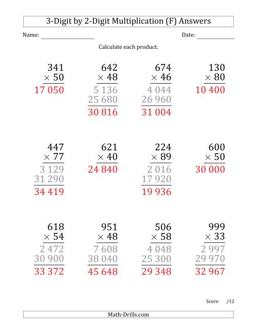 The Multiplying 3-Digit by 2-Digit Numbers (Large Print) with Space-Separated Thousands (F) Math Worksheet Page 2