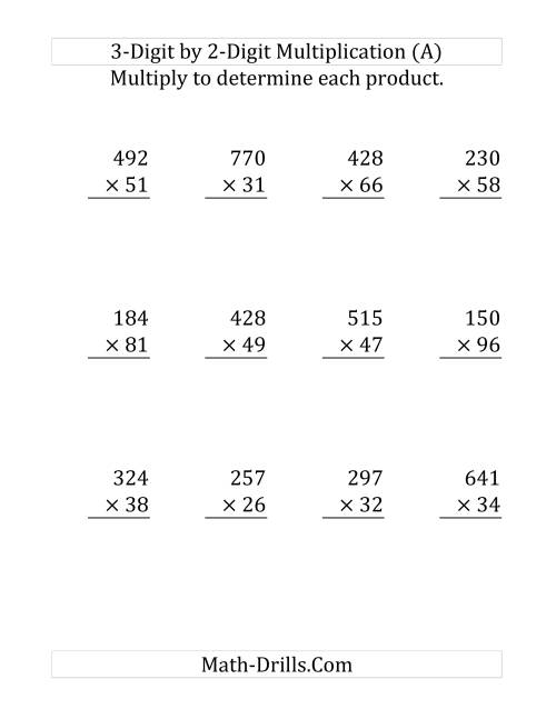 The Multiplying a 3-Digit Number by a 2-Digit Number (Large Print and SI Number Format) (Old) Math Worksheet