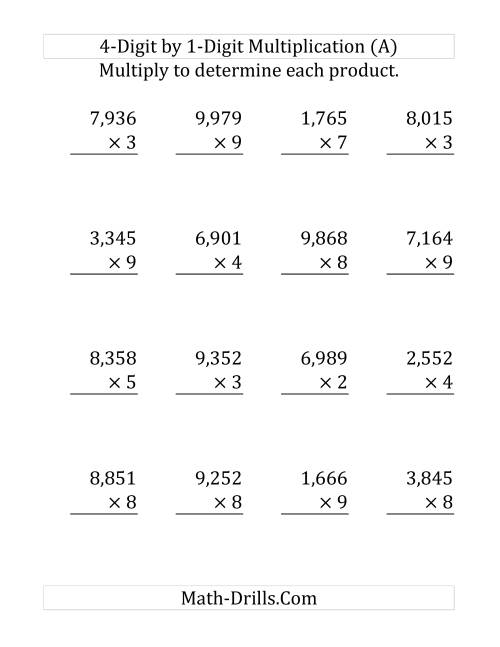 The Multiplying a 4-Digit Number by a 1-Digit Number (Large Print) (Old) Math Worksheet