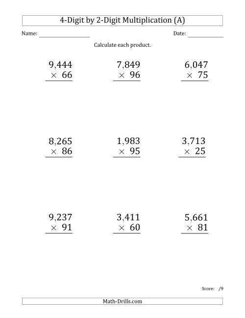 Multiplying 4Digit by 2Digit Numbers Large Print with Comma – 4 Digit by 1 Digit Multiplication Worksheets