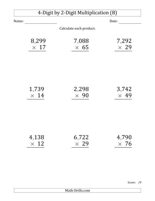The Multiplying 4-Digit by 2-Digit Numbers (Large Print) with Comma-Separated Thousands (B) Math Worksheet