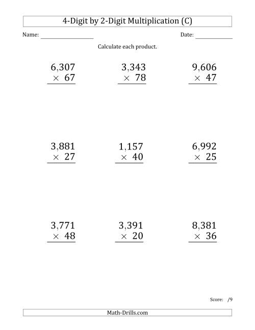 The Multiplying 4-Digit by 2-Digit Numbers (Large Print) with Comma-Separated Thousands (C) Math Worksheet