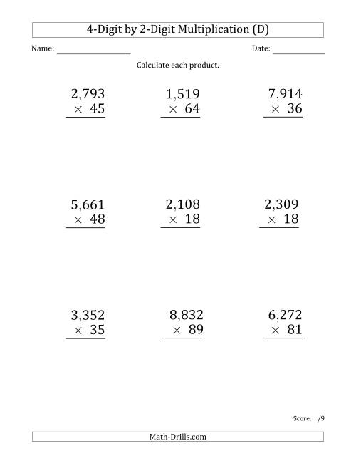The Multiplying 4-Digit by 2-Digit Numbers (Large Print) with Comma-Separated Thousands (D) Math Worksheet
