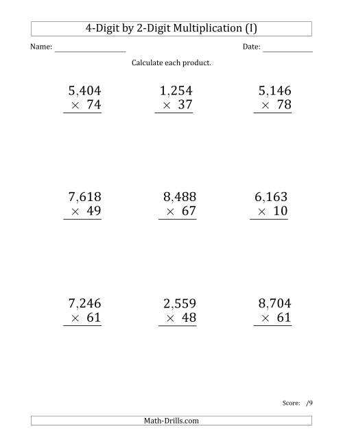 The Multiplying 4-Digit by 2-Digit Numbers (Large Print) with Comma-Separated Thousands (I) Math Worksheet