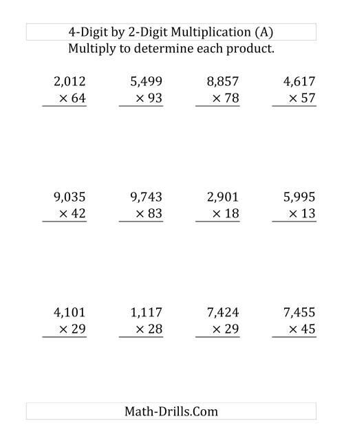 4-Digit by 2-Digit Multiplication (LP)