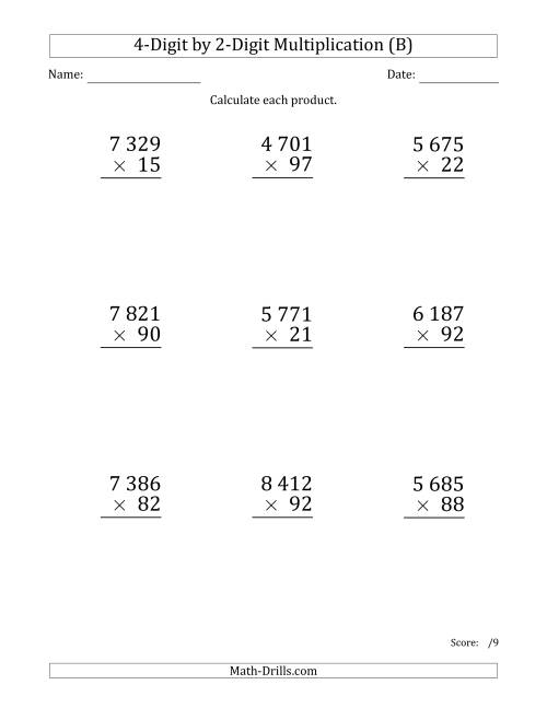 The Multiplying 4-Digit by 2-Digit Numbers (Large Print) with Space-Separated Thousands (B) Math Worksheet