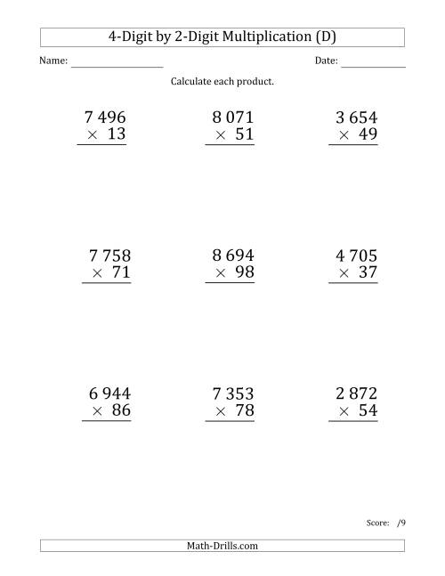 The Multiplying 4-Digit by 2-Digit Numbers (Large Print) with Space-Separated Thousands (D) Math Worksheet
